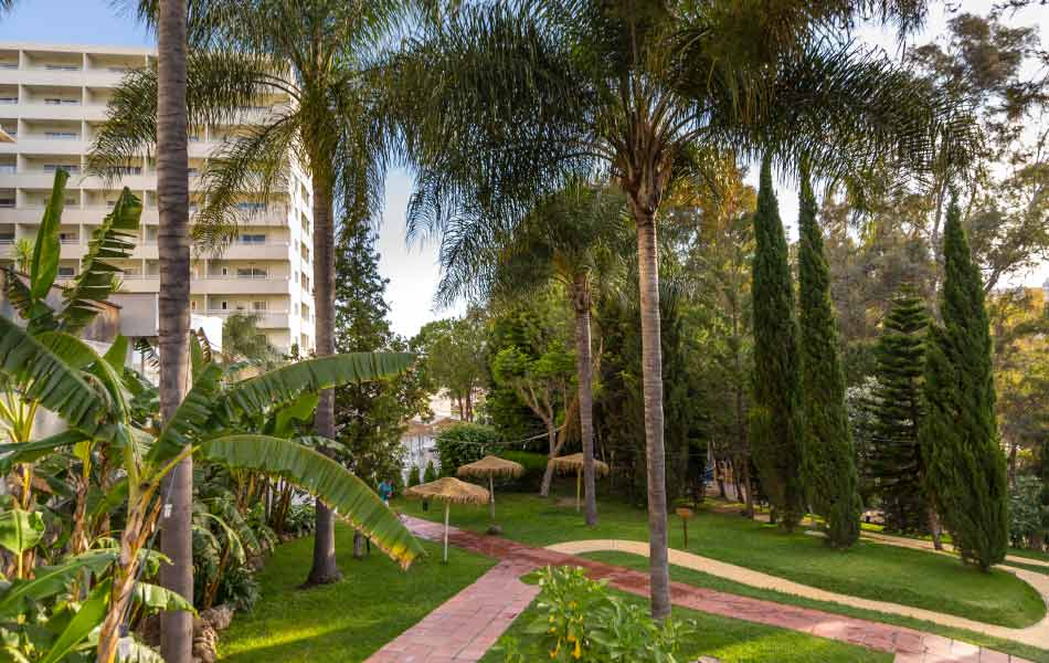 beautiful gardens in the hotel costa park in málaga