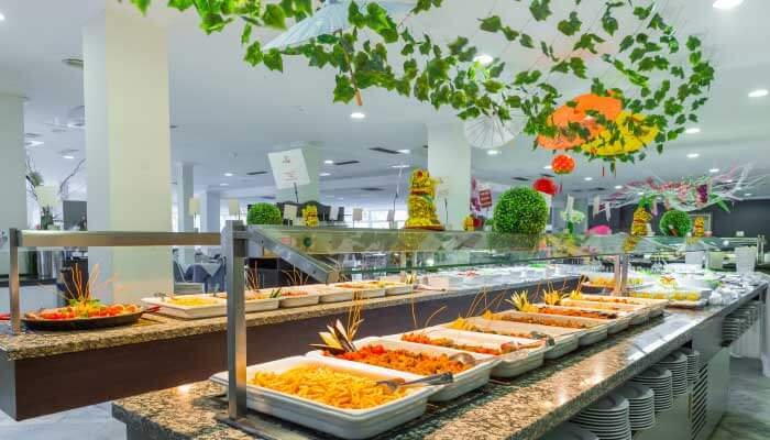 buffet restaurant at the hotel roc costa park in malaga
