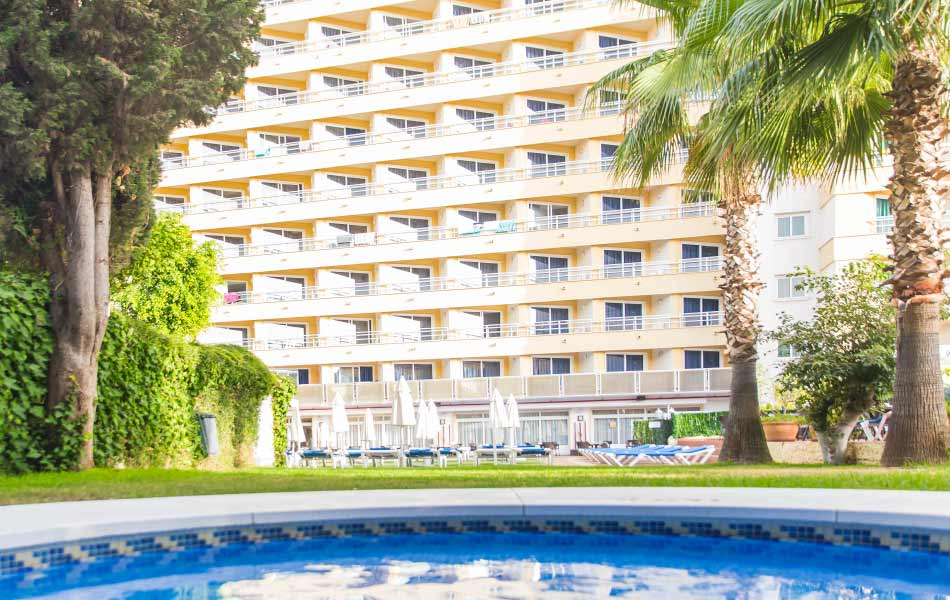 swim and sunbathe in the pool of the hotel roc flamingo in málaga