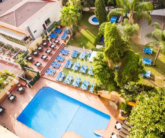 Refresh yourself in the pool of the hotel roc flamingo in malaga
