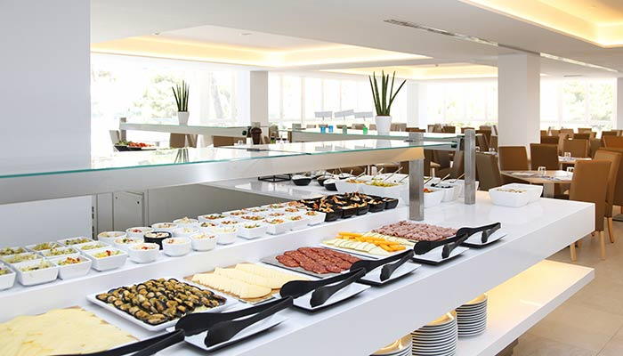 Seasonal products in the buffet of the restaurant of the hotel roc carolina in cala ratjada