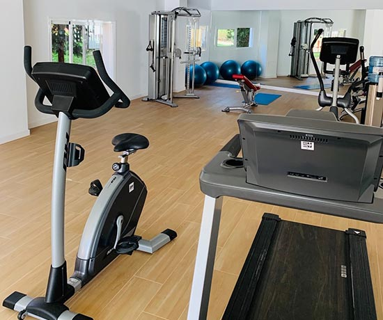 practice sport in the full gym of the hotel roc marbella park in Marbella
