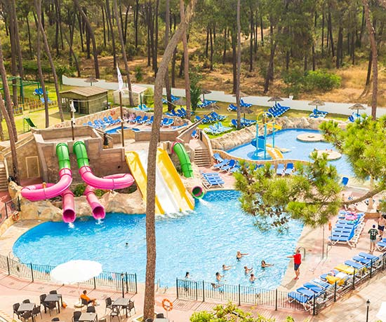 swimming pool with water park for children in the hotel roc marbella park in Marbella