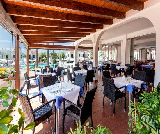 Mediterranean gastronomy in the restaurant of the hotel roc oasis park in Ciudadela